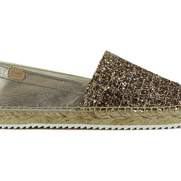 Castell Women's Metallic Bison Leather Espadrilles