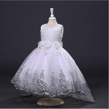 Real Photos 2016 High Low Tulle Sequined Lace Flower Girl Dresses For Weddings Pageant Dresses MDF91