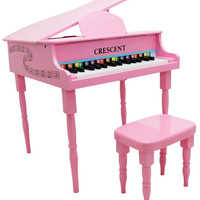 New Crescent 30 Keys PINK Baby Toy Grand Piano with Bench for Kids age 3 - 9