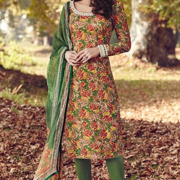 Yellow and Green Printed Tussar Silk Straight Cut Suit