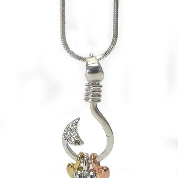 Crystal three heart fishing hook pendant necklace