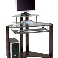 Cherry Finish Computer Desk With Pull Out Keyboard Tray Fits Corner Of Any Room