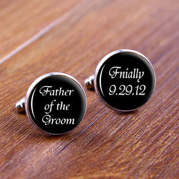 Father of The Groom Silver men Cuff Links, Custom Cuff Links