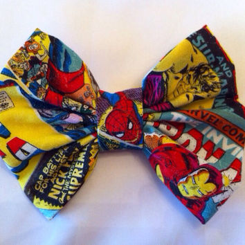Marvel Superhero Medium Sized Fabric Hair Bow by StylishGeek