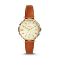 Jacqueline Three-Hand Date Luggage Leather Watch
