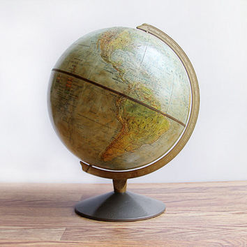 Vintage Mid Century 1960s Replogle Land and Sea World Globe / Eames Era With Metal Stand