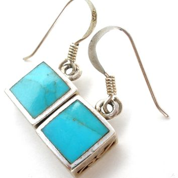 Sterling Silver Earrings with Inlay Turquoise
