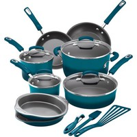 Rachael Ray 15-Piece Hard Enamel Nonstick Cookware Set - Walmart.com