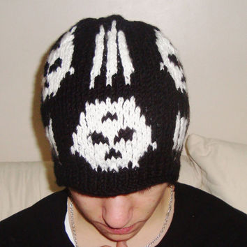 Syn Synyster Gates Beanie hat Teen Men Beanie Hat in Black and White skulls knit hat