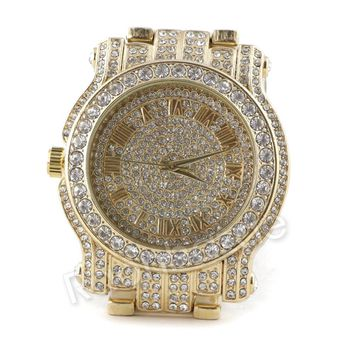 Men Iced Out Simulated Diamond Bling Gold Silver Plated Hip Hop Bling Watch F22