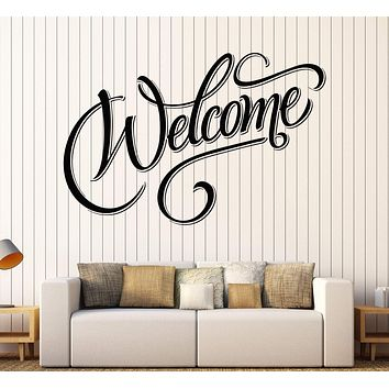 Large Vinyl Decal Wall Sticker Painted Inscription Welcome Lettering House Decor n999