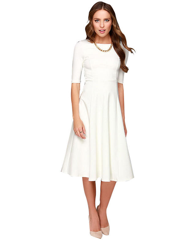 White Dress 3 4 Sleeve Knee Length Casual From Cypress