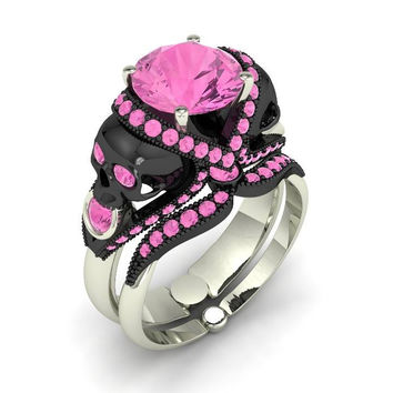 Pink Sapphire Cotton Candy Skull Ring 10 k
