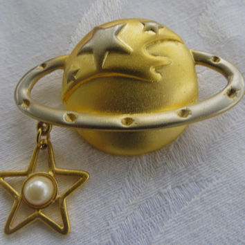 Vintage Celestial Brooch, Saturn and Star Pin, Celestial and Solar System Jewelry