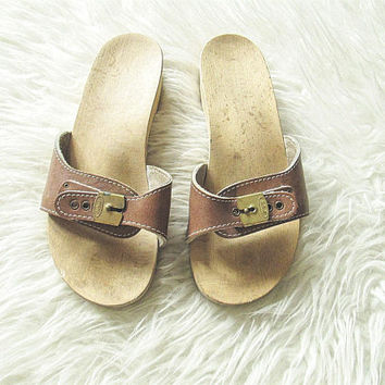 Wms Vintage DR. SCHOLLS Wooden Buckle Slide Sandals Sz 6