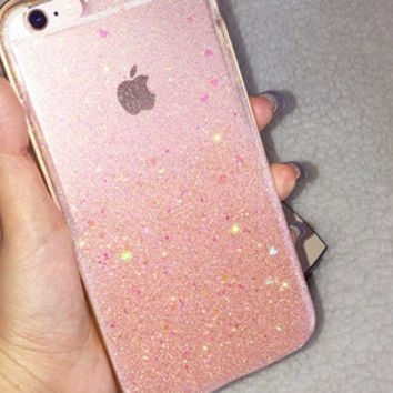 Hard Rose Pink Gold Ombre Glitters Handmade Sparkle Fading Transparent Phone Case 5/5s/6/6s/6s plus iPhone & Samsung s5/s6/s6 edge+ Clear