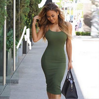 New fall was thin straps sexy ladies sleeveless package hip dress temperament