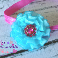 Baby headband, Blue Hot Pink couture baby hair band, newborn headband, newborn photography props, birthday headband, Toronto Canada