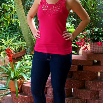 Hot Pink Lace Racerback Tank Top