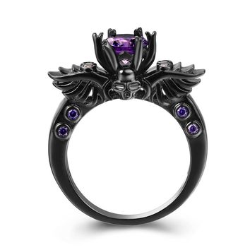 Gange Black Gun Gold Plated Round Cut Amethyst Purple CZ Cubic Zirconia Vintage Gothic Skull Band Ring