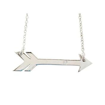 DCCK8BW FRONAY CO 925 STERLING SILVER SIDEWAYS ARROW PENDANT NECKLACE FOR WOMEN