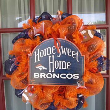 Denver Broncos NFL Football Fan Orange Navy Deco Mesh Door Wreath