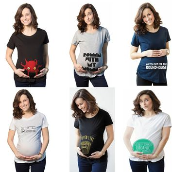 Casual Print funny maternity pregnant T shirts Women Cotton Cute Pregnancy Tees Maternity Clothes Summer T Shirt Women Tops