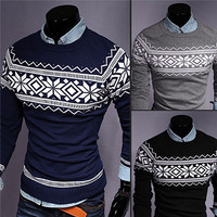 Vintage Print Men Fashion Round Neck Slim Sweater