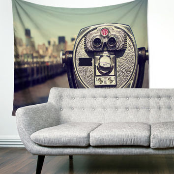 Viewfinder New York City Manhattan City Skyline Urban Boho Wanderlust Unique Dorm Home Decor Wall Art Tapestry