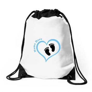 Custom baby boy name maternity design Drawstring Bags