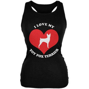 DCCKJY1 Valentines I Love My Toy Fox Terrier Black Juniors Soft Tank Top