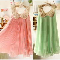 Spring/Summer Girls Pleated Chiffon Dress With Paillette Collar