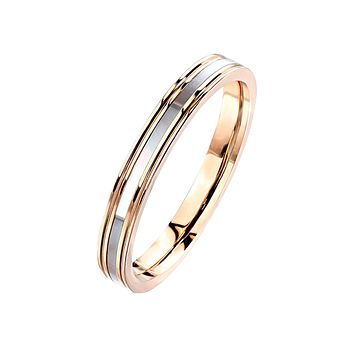 Cordelia - Women's Rose Gold IP Stainless Steel Ring with Mother of Pearl Inlaid Center