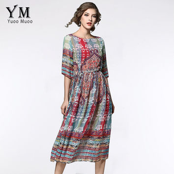 YuooMuoo New Summer Casual Bohemian Women Chiffon Dress Printed Half-Sleeve Mid-Calf Loose Dresses