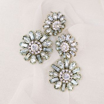 Celine Crystal Flower Statement Earrings