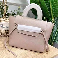 CELINE New fashion solid color leather shoulder bag women handbag Apricot