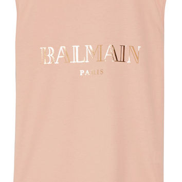 Balmain - Button-embellished printed cotton-jersey top