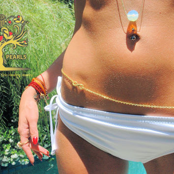 Gold Infinity charm Belly chain  beach body jewelry  bikini mother of pearl Victoria secret style gold  body chains  jewelry.