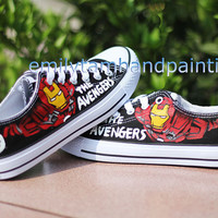 Hand Paint Converse Sneakers-Custom Converse All Star Chuck Taylor Low Top Iron Man Inpired