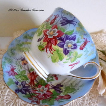 Royal Albert Columbine Vintage Fine Bone China Blue Cup and Saucer with Red Orange Purple Flowers English Antique Tea Cup and Saucer Gift
