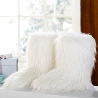 Fur-riffic Faux Fur Booties, Ivory