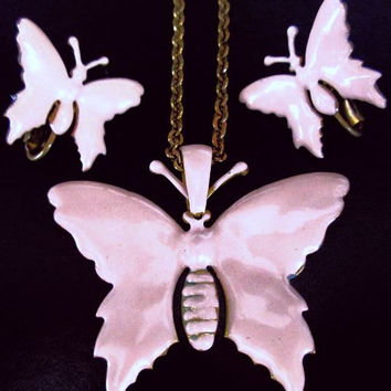 Miriam Haskell Butterfly Pendant Earring Set Signed Pink Enamel Gold Rolo Chain Vintage 1960s