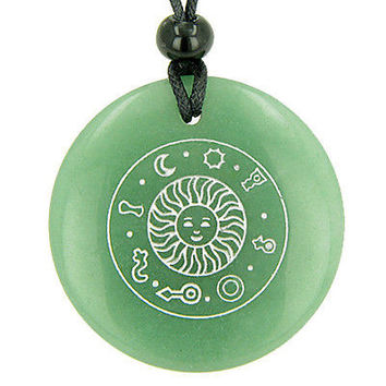 Positive Energy Talisman of Sun Green Aventurine Magic Gemstone Circle Good Luck