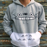 Cartoon Print Patchwork Pullover Hoodie