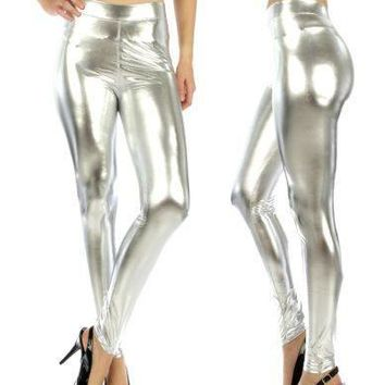 Stretch Metallic Leggings Silver Fits Sizes XS/S