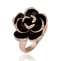 18K Rose Gold Plated Swarovski Element Accent Black Enemael 3D Rose Flower Cocktail Ring