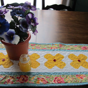 Patchwork Floral Quilted Table Runner Spring Cottage Chic Table Runner Yellow White Green Rose