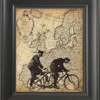 Riding the world -printed on Map page. 250Gram paper.