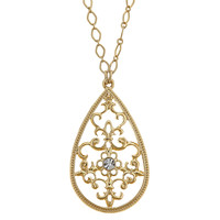 TEGAN Long Teardrop Necklace - Gold