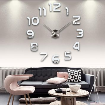 sale new real living room clocks 3d mirror sticke Big wall clock home decoration acrylic diy watch stickers free